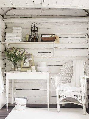 Camilla At Home: White Painted logs