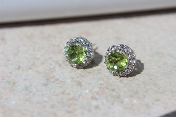 5mm Peridot Studs with 7mm Jackets Removable by KimberlysTreasure