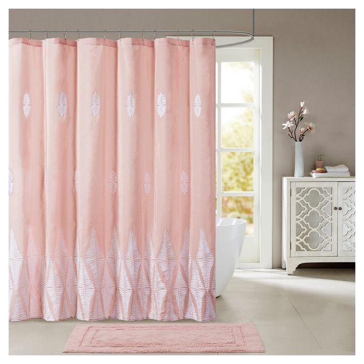 Shower Curtain Leaf Pink, Shower Curtain