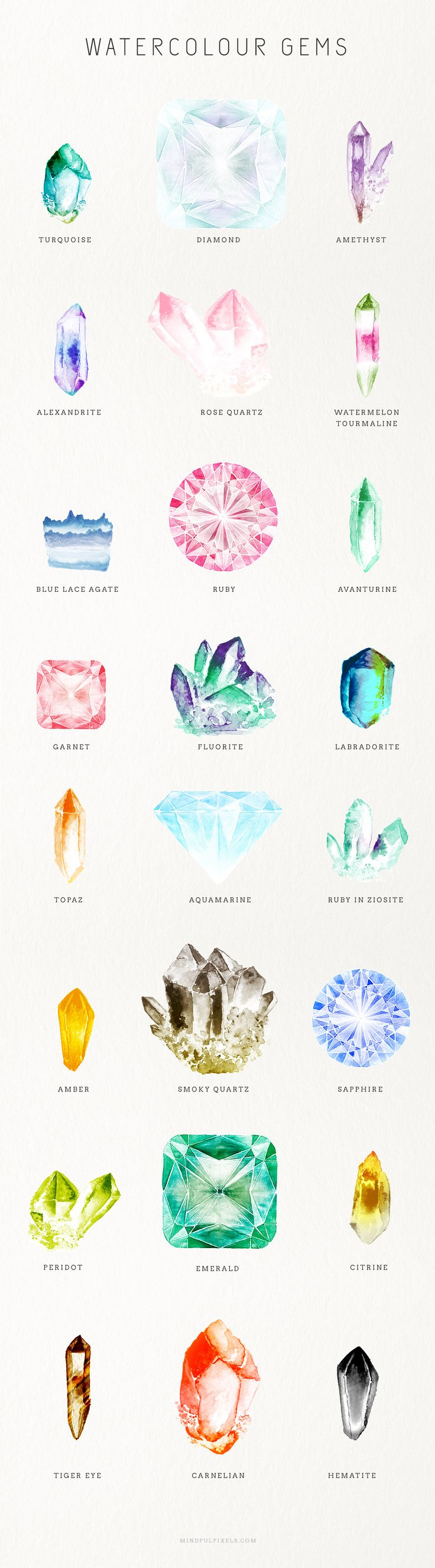 Watercolor gems--for my tattoo :)
