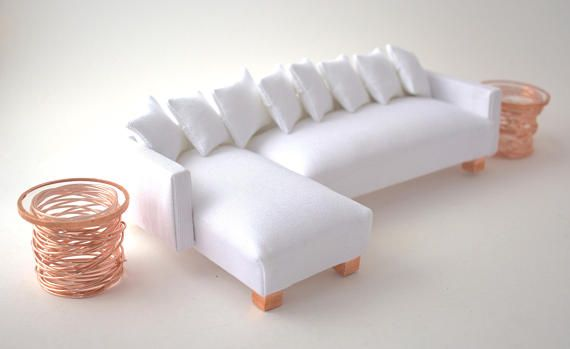 SIDE TABLES <b>Pair 1</b>:12 Scale Modern Miniature Minimalist Copper ...