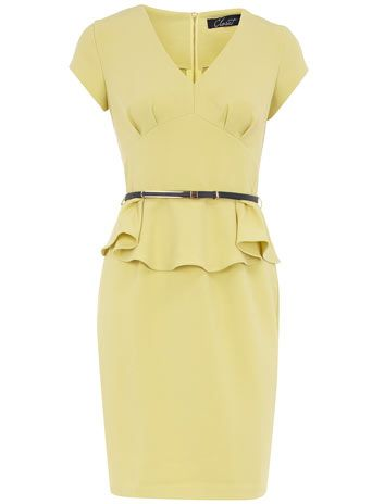 Lemon peplum dress - even though I could never wear this color - also I've just learned that I, apparently, love peplum dresses, who knew?