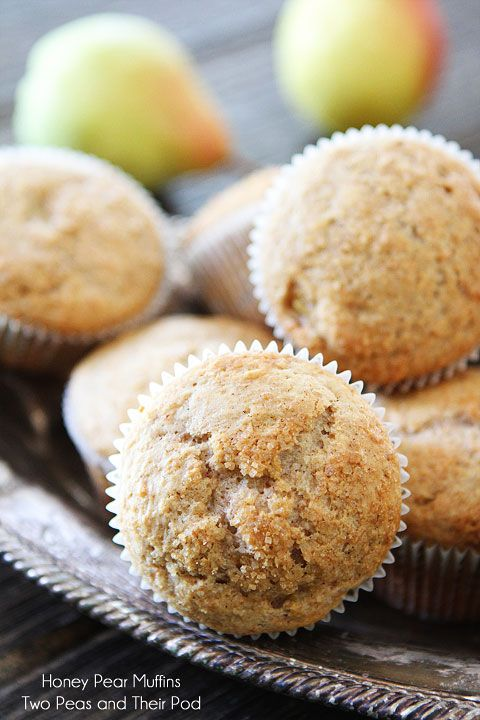 Honey Pear Muffins-sweet honey muffins with juicy pears and Fall spices. Add them to your breakfast menu today!