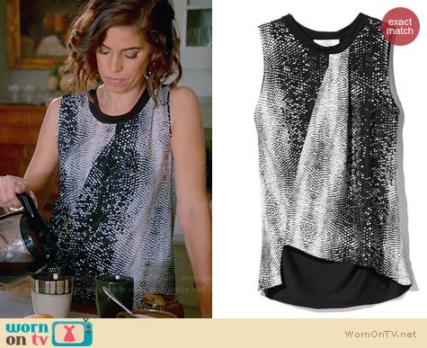 Marisol's black and white snake print top on Devious Maids. Outfit Details: http://wornontv.net/32364/ #DeviousMaids