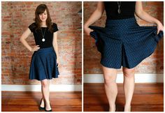 culottes cleverly disguised as a circle skirt--ingenious use of box pleats…