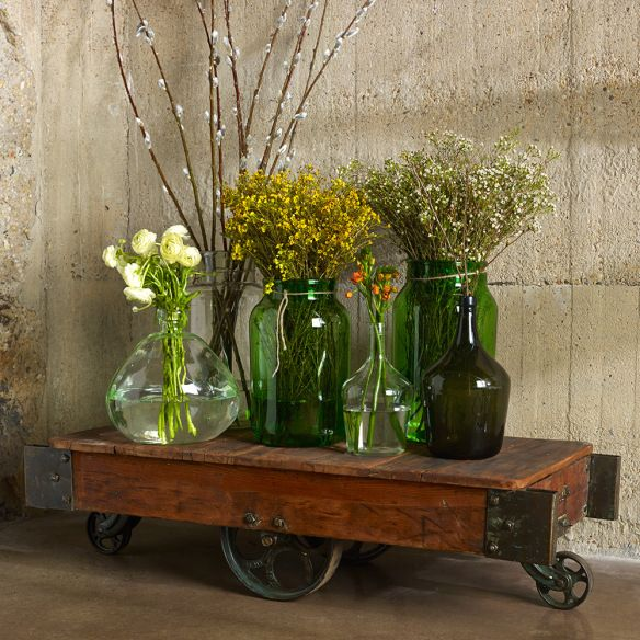 bringing the outside in...8 ways to embrace summer splendor | inspired habitat #outdoorsin, #bambecoChic, #recycledglass, #reclaimedwood, #vintage: Antiques Glasses, Antique Glass, Wood Tables, Bambeco, Glass Bottles, Glasses Bottle, Wood Wall, Home Accent,  Flowerpot