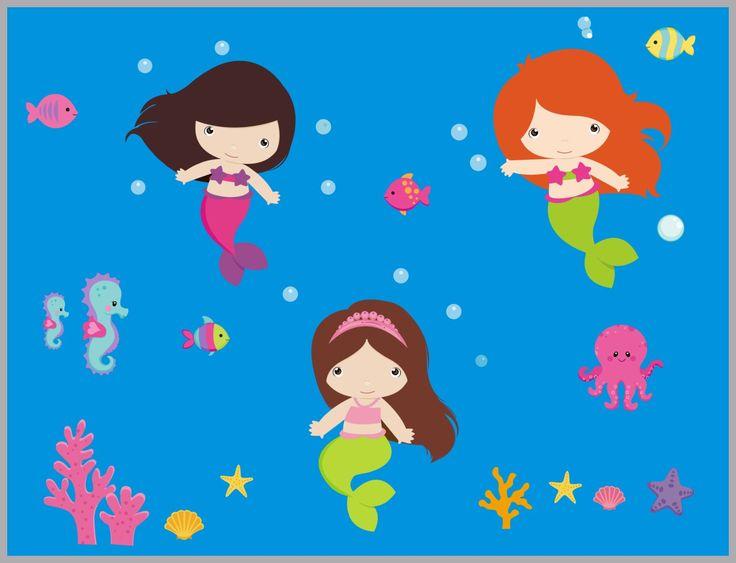"Mermaid Wall Decals - Mermaid Nursery Stickers - Mermaid Nursery Decor - Girls Mermaid Decals - Girls Nursery Theme - Baby Decor - 48"" x 65"""