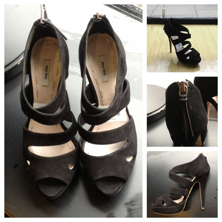 These black Miu-Miu suede sandals were originally €410 but they can be yours for an amazing €40 at Oxfam George's St. (Size 3) https://www.oxfamireland.org/shop/oxfam-georges-st