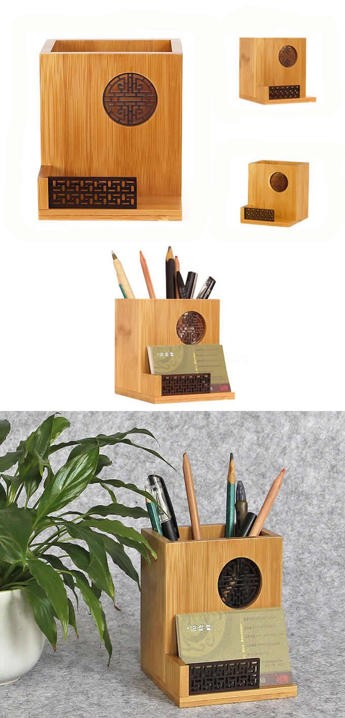 Bamboo Wooden Office Desk Organizer Pencil Pens Container Business Card Holder Desk Accessories Business Card Holders Business Card Maker