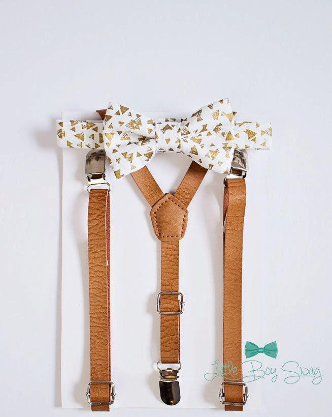 Gold pattern bow tie for boys to men. A elegant look for your dream #gold inspired #wedding.   Boys Gold White Bow Tie Tan Leather Suspenders, Kids Adult Bow Tie Suspenders, Ring Bearers Outfits, Baby Boy Bow Tie, Wedding, Boys Bow Tie by LittleBoySwag on Etsy https://www.etsy.com/ca/listing/270889335/boys-gold-white-bow-tie-tan-leather