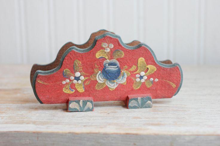 Hand Painted Toleware Napkin Holder - Vintage Folk Art Red
