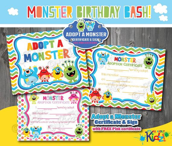 Instant Download Adopt a Monster Certificate and Sign, Monster birthday game, Monster party decoration, Monster Birthday Printables