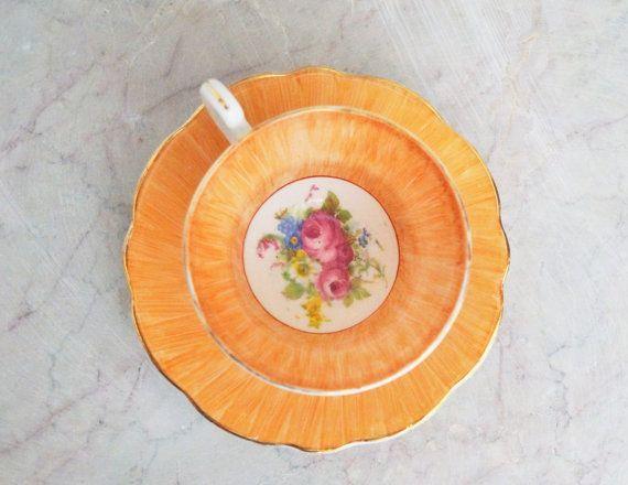 Vibrant orange tea cup ~ orange Foley tea cup ~ lush orange floral ~ E. B. Foley fine china ~ English ~ 1940s ~ Mid Century teacup saucer