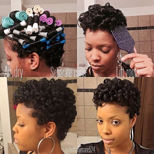 http://www.shorthaircutsforblackwomen.com/top-50-best-selling-natural-hair-products-updated-regularly/ Cute, hair that is not in rollers is finger coiled.