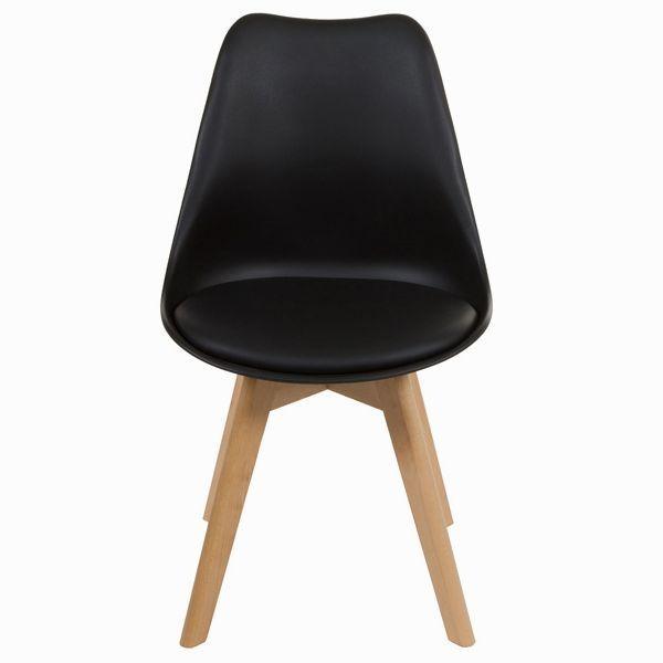Är du ute efter en snygg svart köksstol/matstol? Låt oss då presentera denna populära stol med träben och fodrad sits svart.  Boldliving.se