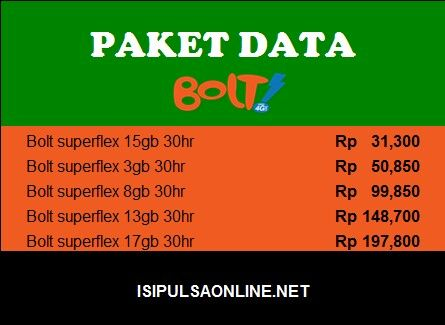 Paket data Bolt isipulsaonline.net