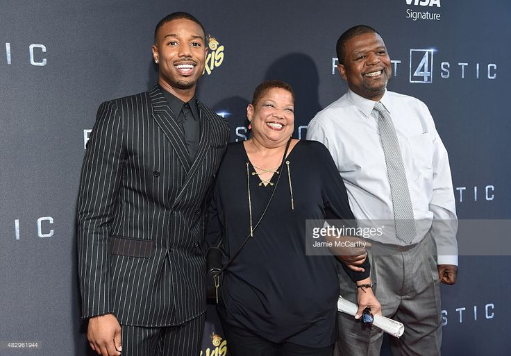 Actor Michael B. Jordan poses with his parents Donna and Michael B. Jordan Sr at the New York premiere of 'Fantastic Four' at Williamsburg Cinemas on August 4, 2015 in New York City.