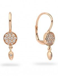 8ct rose gold diamond-set fancy drop earrings.