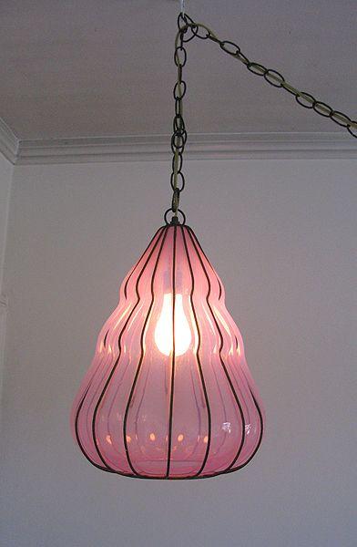 Vintage Pink Italian Murano Glass Pendant Chandelier