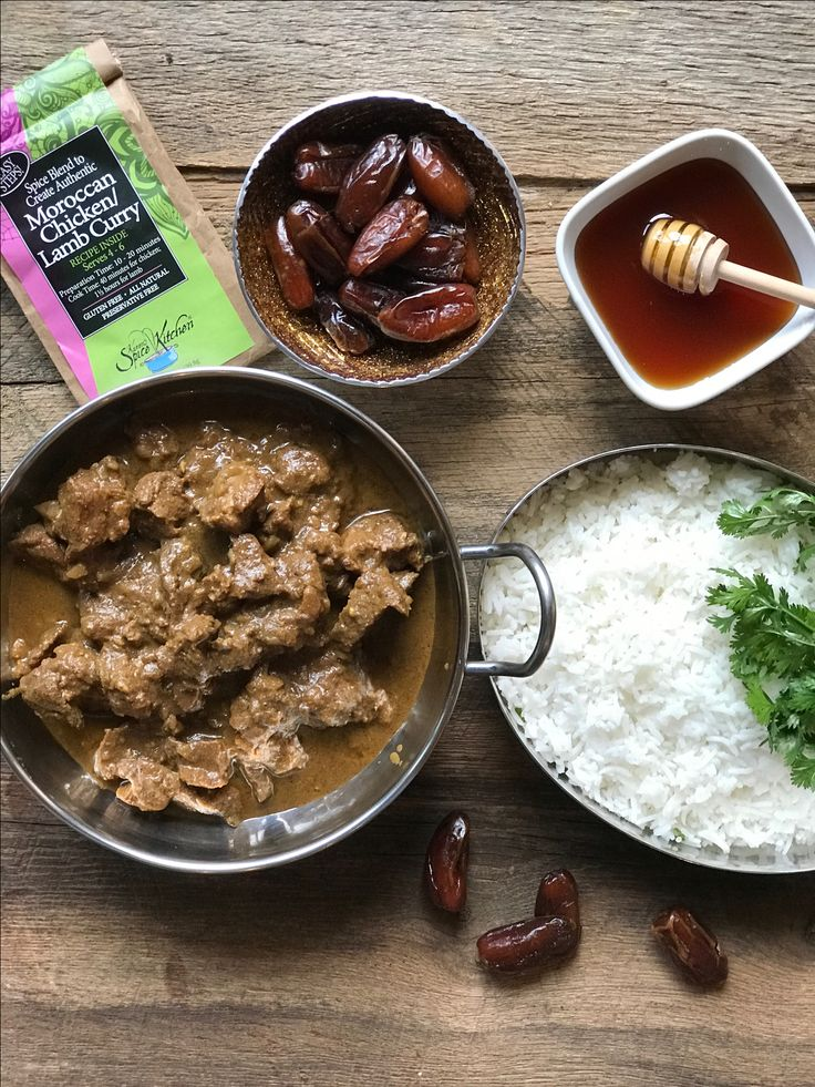 Looking for dinner inspiration? Try our Moroccan curry that can be prepared with chicken, lamb, or any vegetarian option!  Simple steps for a delicious meal:  1. Chop & sauté onions, garlic & spices.  2. Add protein and other ingredients.  3. Simmer. *Taste and add extra chili powder, a little at a time, if you like it hotter.  Prep time: 10-20 mins.  Cook time: 40 minutes for chicken, 1½ hours for lamb  Serves 4-6