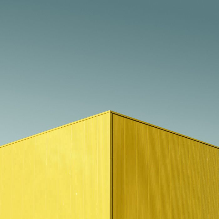 Minimal Photography abstract of yellow cube building and blue sky #photography #architecture #minimal