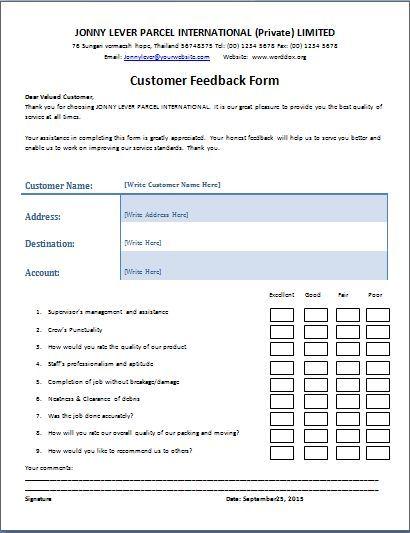 The customer feedback form is a written document or tool that is - customer feedback form