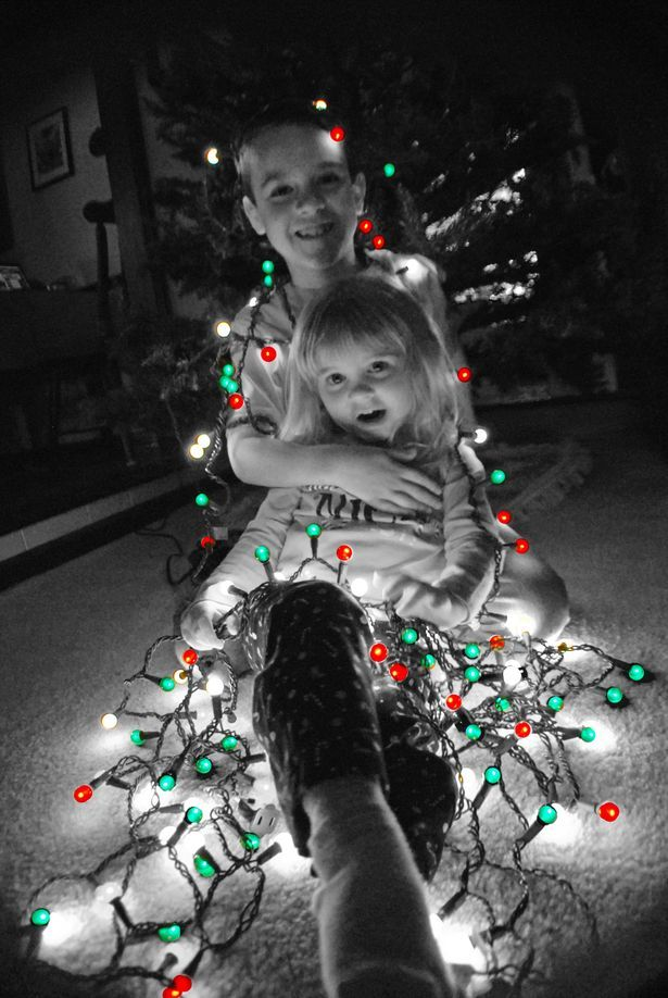 Lights on the kids before the tree!