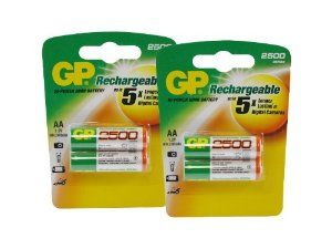 GP AA NiMH Rechargeable Batteries for Yashica Electro MS 110 (Double Pack, 4-Count, 2500mAh) by GP. $10.49. GP AA NiMH rechargeable batteries are great for use in your household devices, such as digital cameras, toys, remote controls, flashlights, and portable audio players.