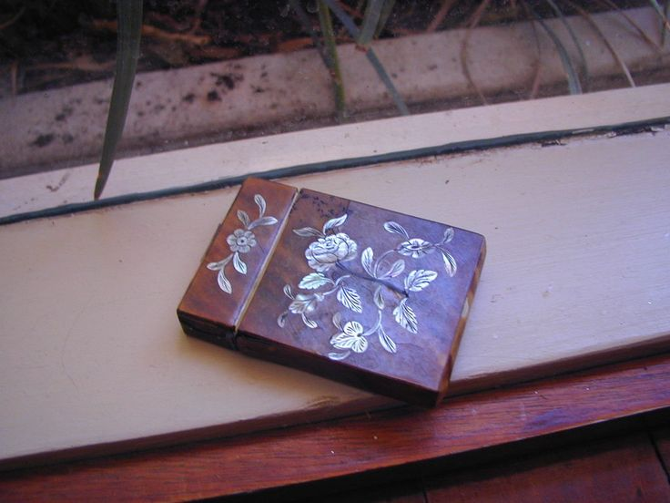 Antique english calling card case faux tortoise shell