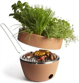 Barbecue nascosto nel vaso da fiori
