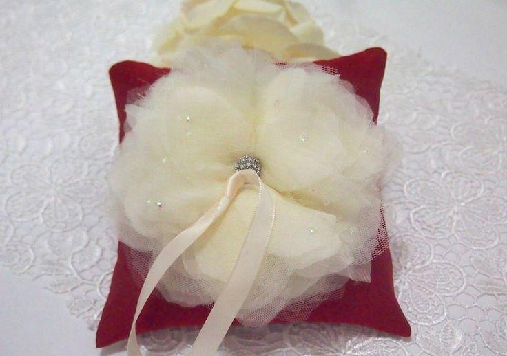 Made to Order. USD 30. Ship within 5-7 days. Shipped Worldwide.#weddingring #ringpillow #lace #flower #rhinestones #wedding #wedding accessories #yellow #red #ribbon #RingPillow  #ringpillow  #weddinggift #weddingring #brides #holymatrimony #flowerringpillow #handmadeflower