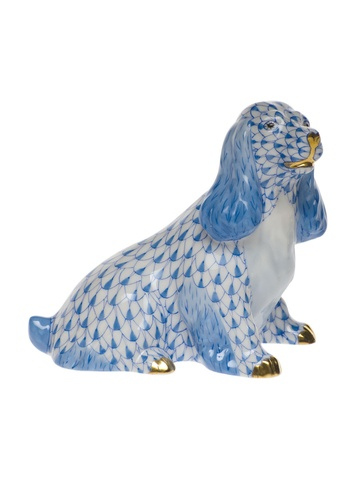 Herend Spaniel sitting in Blue.3.25H