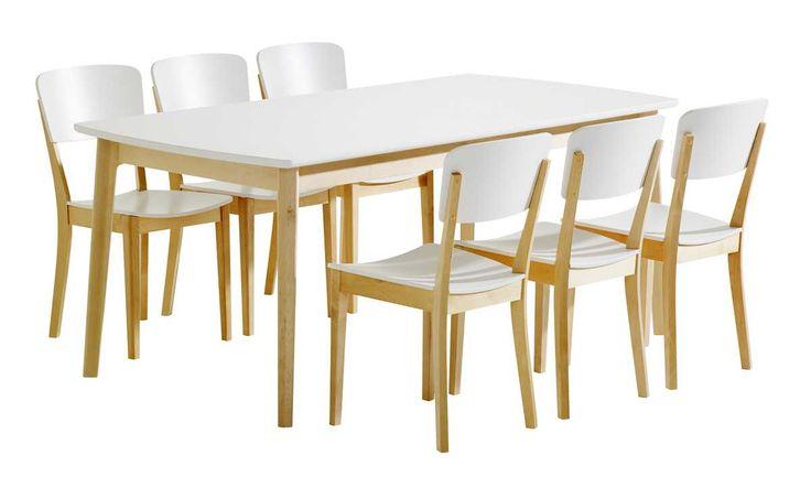 Olivia Pöytä 180x90 ja 6 tuolia puuistuin Väri: Luonnonvärinen koivu/valk Mittatiedot: Pöydän päämitat: leveys 90 cm, pituus 180 cm, korkeus 74,5 cm. Tuolin päämitat: lev. 42 cm, kork. 82 cm, syv. 51,5 cm, istuinkork. 42,5/44 cm. Laulumaa Huonekalut