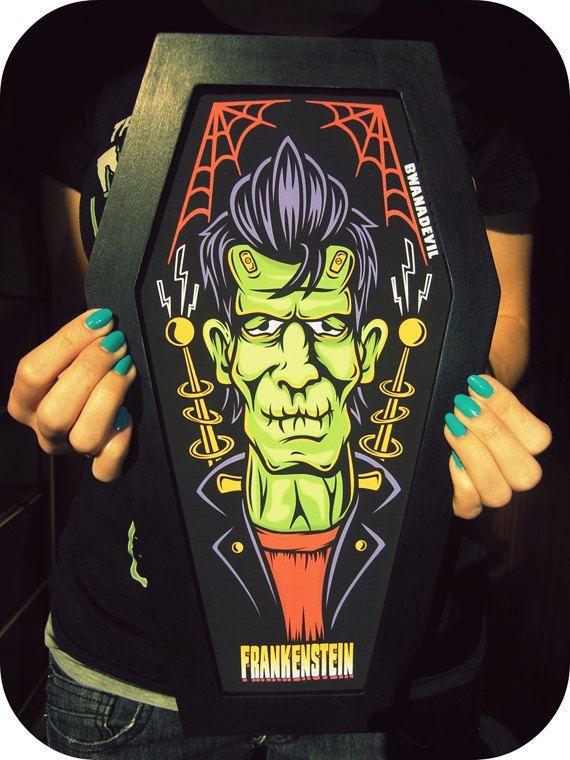 Frankenstein coffin shaped art print. Halloween discounts until Nov. 2nd. €30.90, via Etsy.