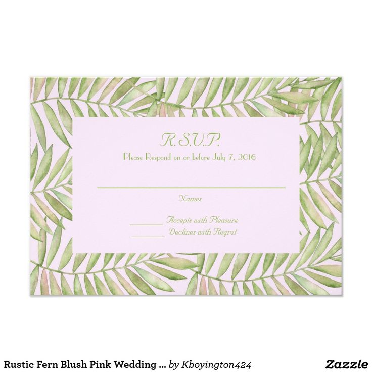 Rustic Fern Blush Pink Wedding Reply Card