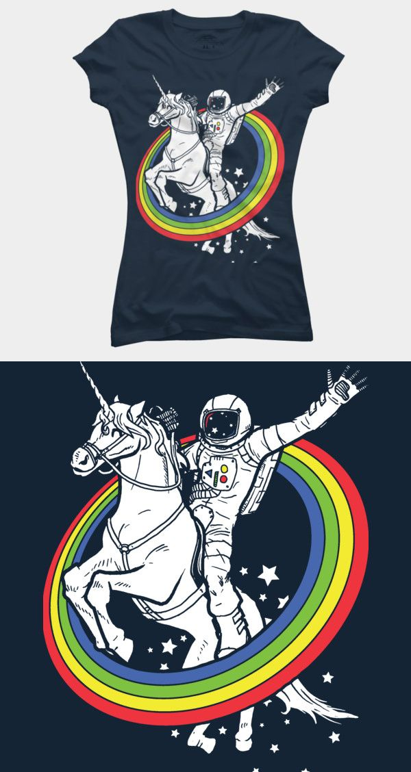 An epic combo. This funny T shirt features an astronaut riding a unicorn through a hooped rainbow. It's a cool and unique tee shirt design. Buy this epic combo tee shirt at http://shirtminion.com/astronautunicorn