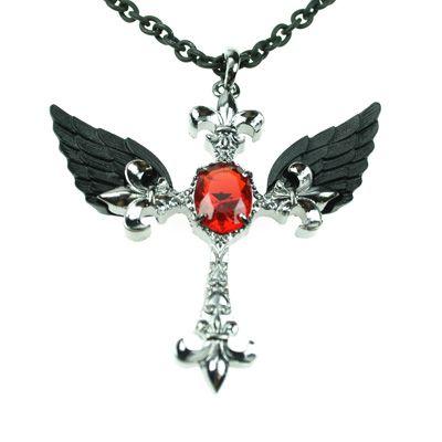 Kruis met vleugels ketting - Gothic Glamrock Metal - Poizen Industries