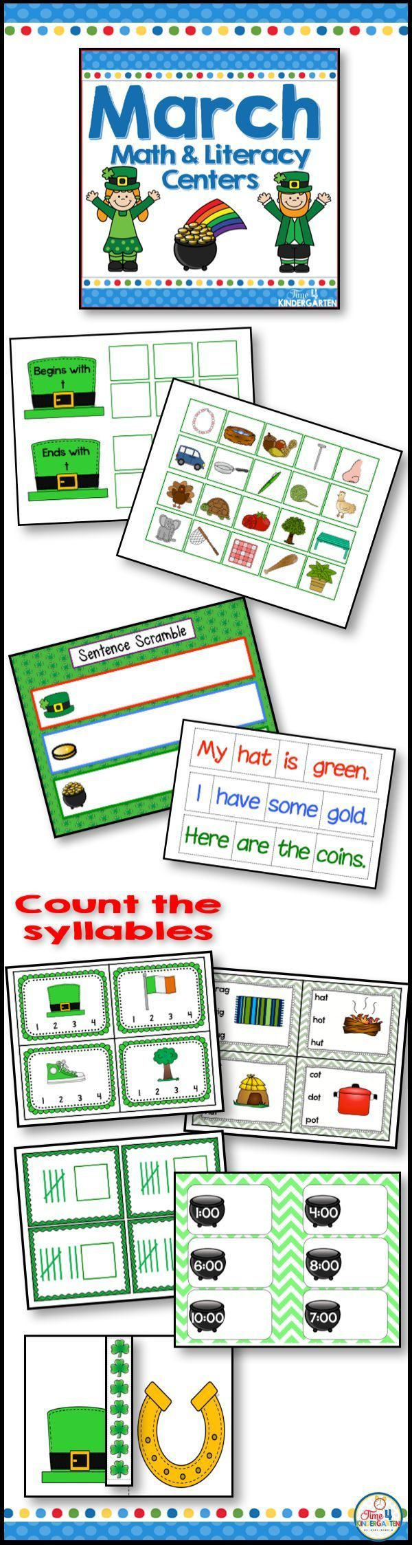 March literacy and Math St. Patrick's themed centers for kindergarten. This resource is packed with common core skills, CVC, syllables, word ending, phonemic awareness, rhyming, vowels, telling time, measurement, addition, subtraction, number order, tally marks and more.  Every kindergarten classroom needs this resource for their march literacy and math centers.  You little leprechauns will love the Saint Patrick's Day theme.