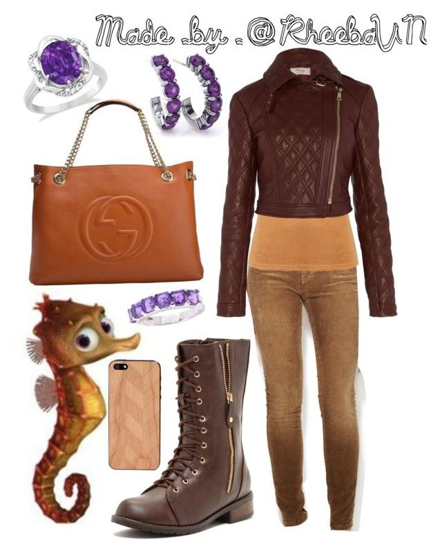"""Sheldon (Finding Nemo)"" by rheebavn ❤ liked on Polyvore featuring Current/Elliott, Temperley London, Gucci, Carrini, Allurez and Lazerwood"
