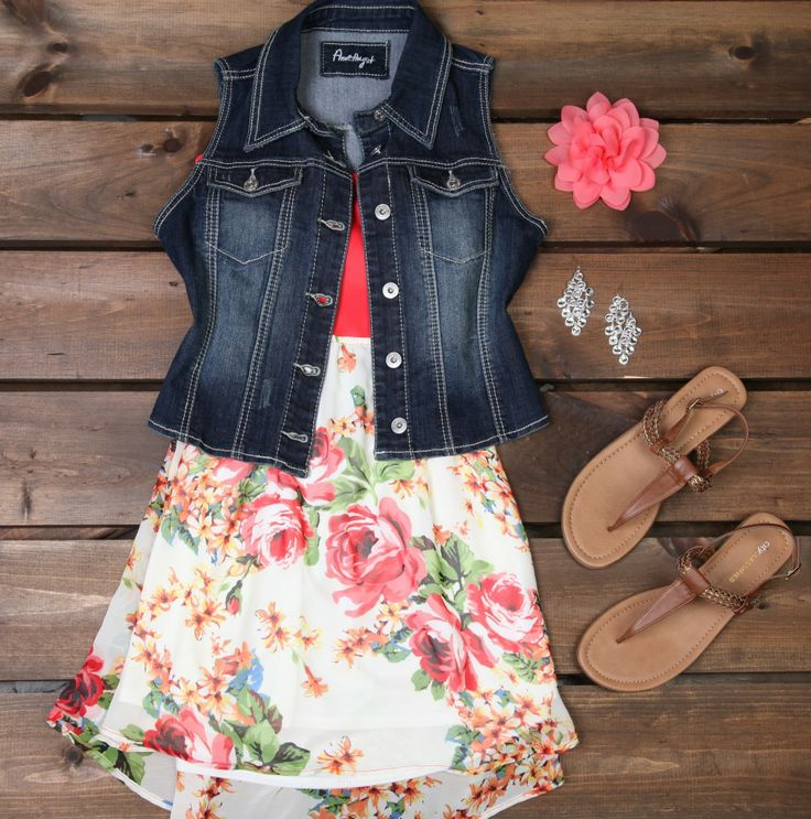 jean jacket and floral print ... would also look great with cowboy boots!