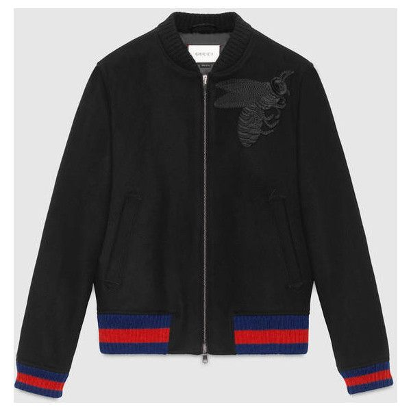 Gucci Wool Bomber Jacket With Bee Appliqué ($1,890) ❤ liked on Polyvore featuring men's fashion, men's clothing, men's outerwear, men's jackets, mens wool outerwear, mens fur lined bomber jacket, men's sherpa lined jacket, mens wool lined jacket and gucci mens jacket