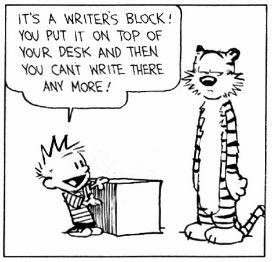 Best Excuse to not write my essays- calvin and hobbes writer's block