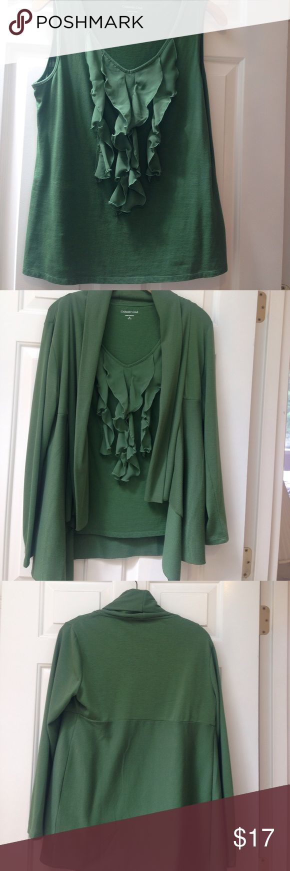 Sweater w/ matching top Beautiful Sage green sleeveless ruffled front top w/ long sleeved matching sweater Coldwater Creek Sweaters Cardigans