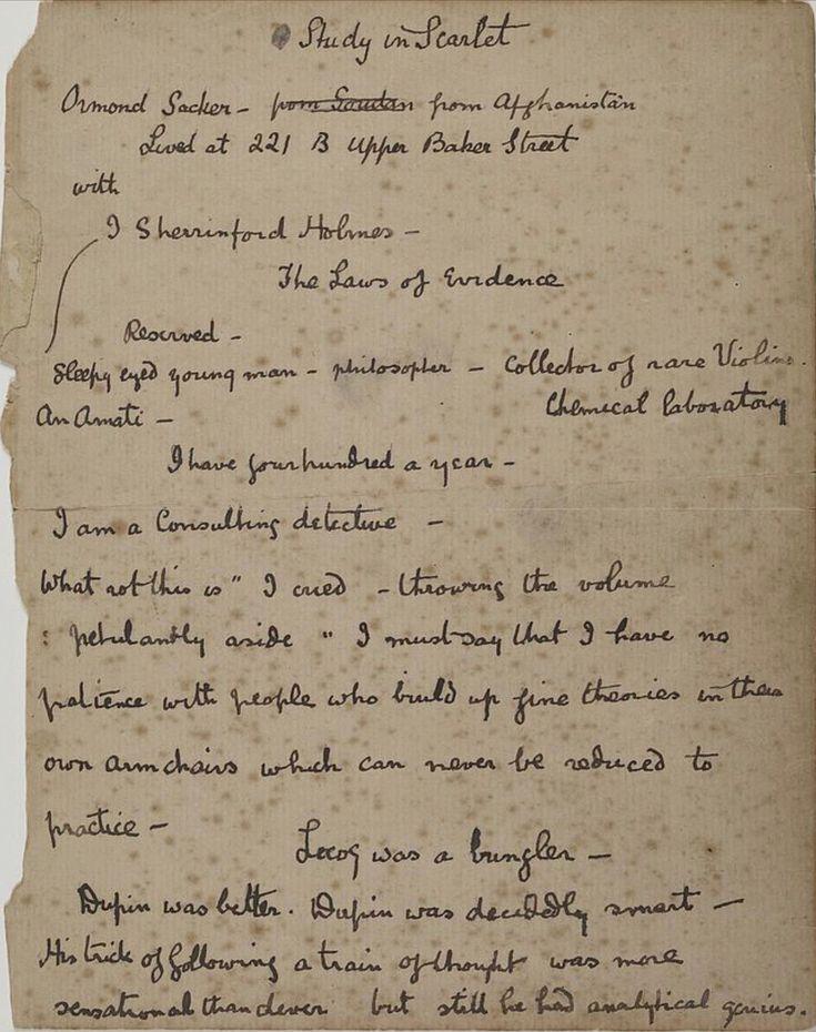 A Study in Scarlett Notes by Arthur Conan Doyle Sherlock
