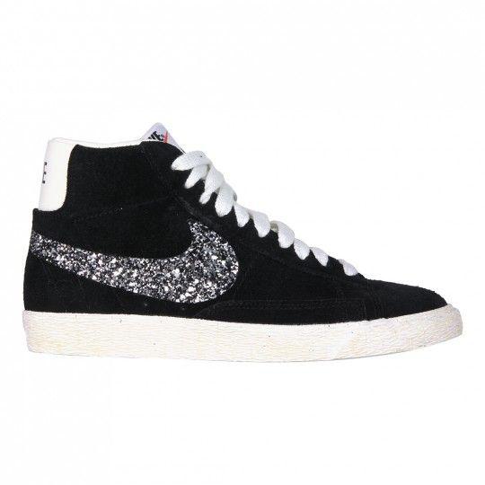 Scarpe Nike Blazer personalizzate con baffo in glitter sale e pepe