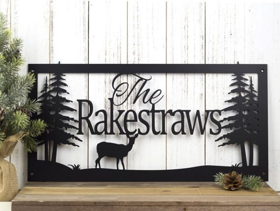 custom name sign metal sign personalized sign lake home decor cabin decor name sign metal wall art deer 20w x 10h - Custom Signs For Home Decor