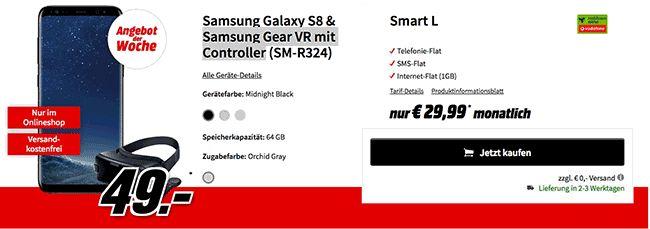 Vodafone Smart L mit dem Samsung Handy Bundle Samsung Galaxy S8 und Samsung Gear VR mit Controller für 3,20 Euro effektive Grundgebühr , im Tarif Smart L habt Ihr eine 1 GB LTE Internet-Flatrate bis 375 Mbit/s , Telefon Allnet Flat und eine SMS-Flat in alle dt. Mobilfunknetze mit 29,99 Euro Grundgebühr im Vodafone Mobilfunknetz.
