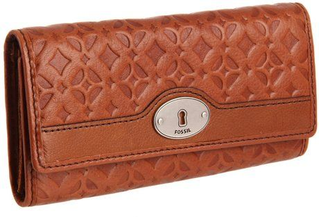 Fossil Brown Fossil Maddox Embossed Flap Clutch