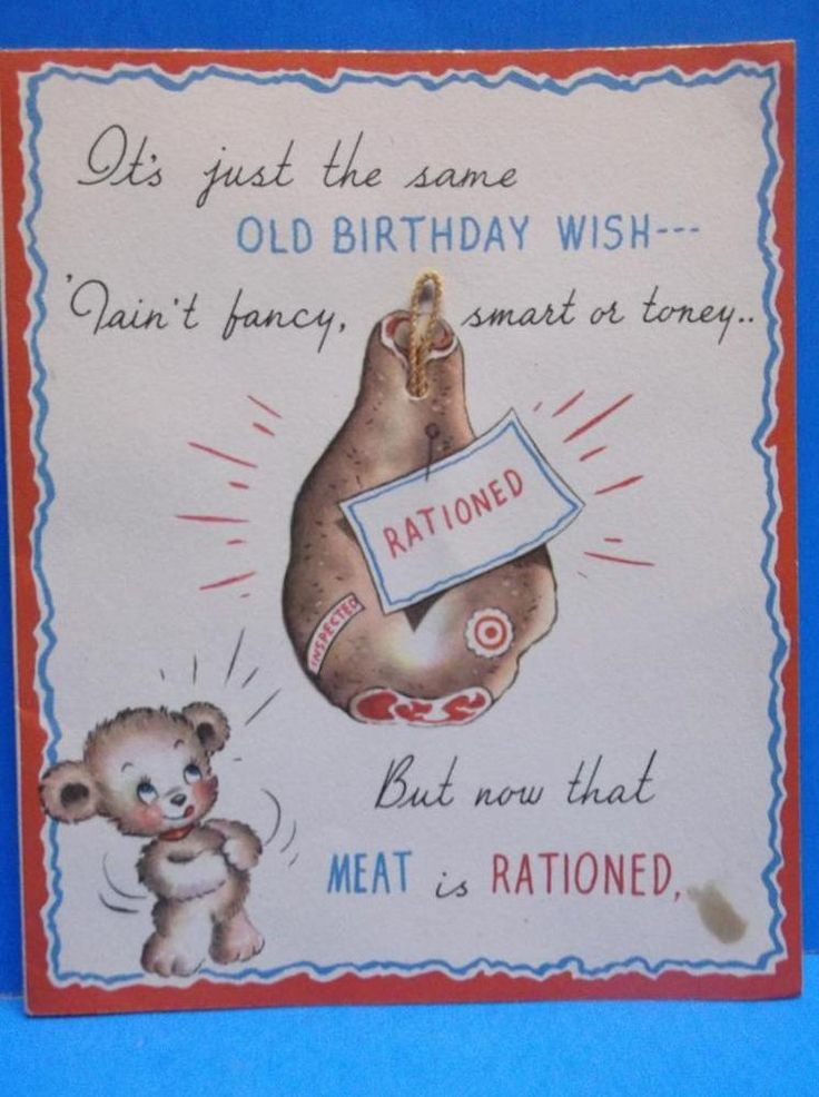 WW II Era Meat Rationed Bear Big Sandwich Cheese Vintage Birthday Card 1940's