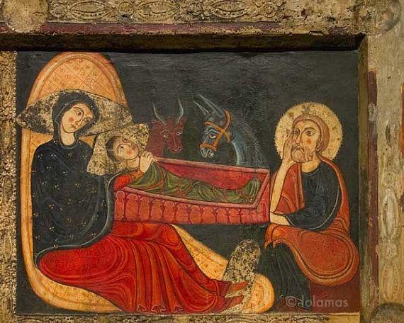 Medieval Art Paintings Religious Christmas nativ...